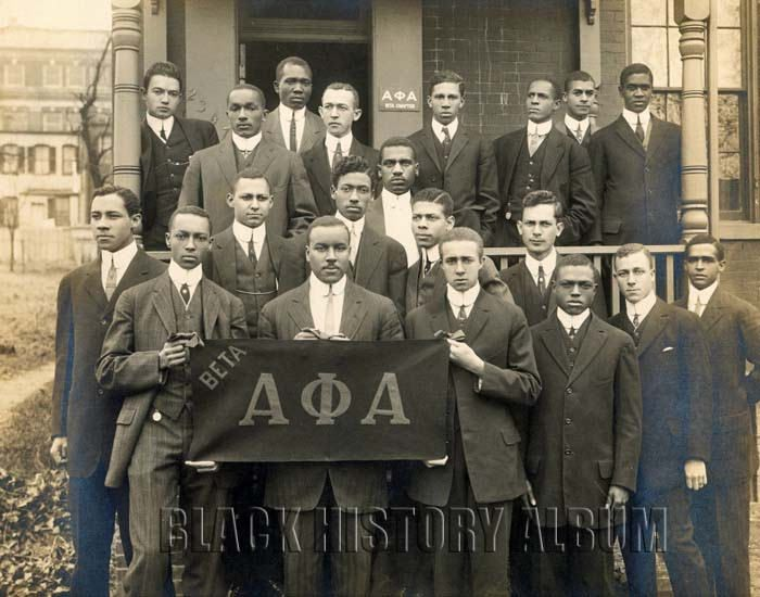 """Beta Chapter, Alpha Phi Alpha, Howard University, 1913. Alpha Phi Alpha (ΑΦΑ) was the first Inter-Collegiate Black Greek Letter fraternity. It was founded on December 4, 1906 at Cornell University in Ithaca, New York. Alpha Phi Alpha developed a model that was used by the many Black Greek Letter Organizations (BGLOs) that soon followed in its footsteps. It employs an icon from Ancient Egypt, the Great Sphinx of Giza as its symbol, and its aims are """"manly deeds, scholarship, and love for…"""