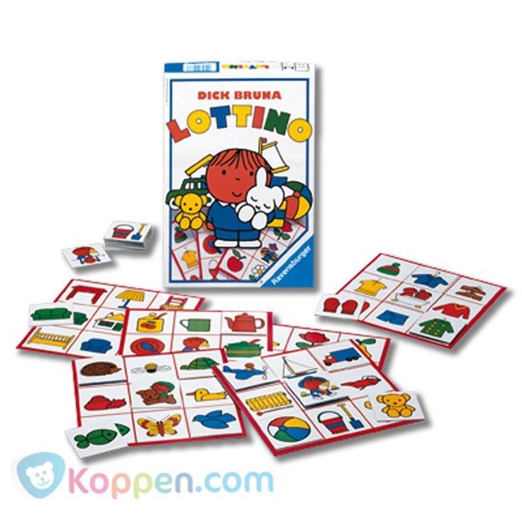 Ravensburger, Dick Bruna, Lottino. Een lottospel, getekend door Dick Bruna en met evenveel zorg samengesteld als zijn kinderboeken. Een extra speelmogelijkheid bieden de achterzijden van de speelborden. http://www.koppen.com/producten/categorie/merken/sub-categorie/ravensburger/geslacht/jongen/leeftijd/vanaf-3-jaar/materiaal/karton/merk/ravensburger/aanbieding/all/prijs/-10,00-20,00/product/8400033 Prijs: € 13,31