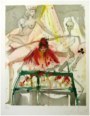"""Title: The Cards Spell Death to Carmen  Medium: Lithograph from Original Gouache, Handsigned Proof  Size: 25.5"""" x 19.75""""  Reference #: AF 70-1  Year: 1970"""