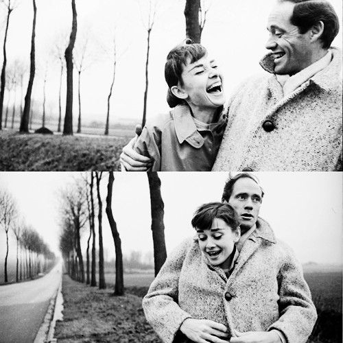 A very cozy Audrey Hepburn and Mel Ferrer from A Cup of Jo.