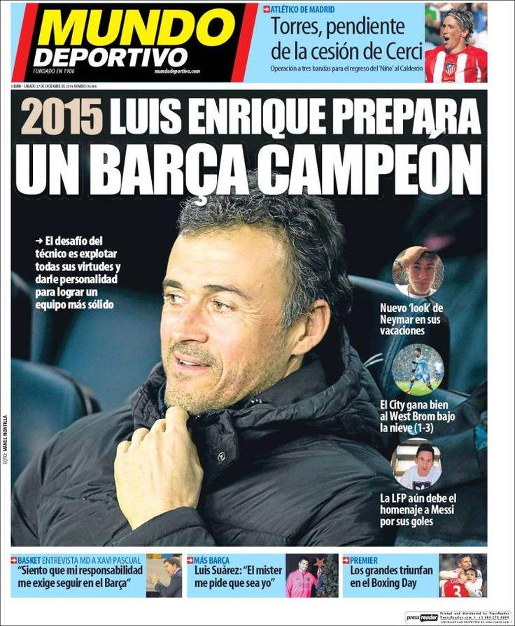 Portada diario Mundo Deportivo 27 de diciembre de 2014