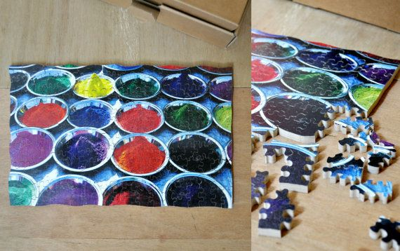 Colors, fabric dyes - a magic middle East and African tradition! hand cut wooden puzzle