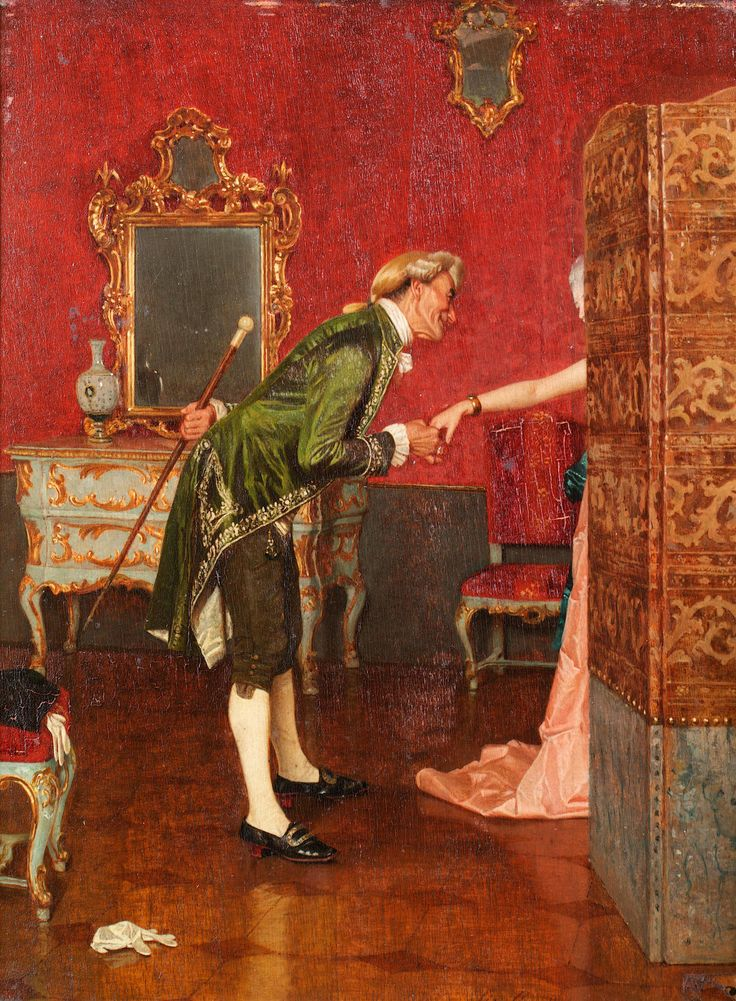 Orfeo Orfei (1836-1905) - A welcome suitor: