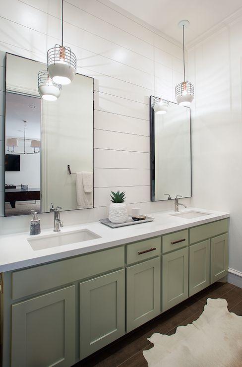 Tracy Hardenburg Designs - bathrooms - shiplap, bathroom shiplap, bathroom hardwood floors, cowhide rug, cream cowhide, gray green vanity, g...