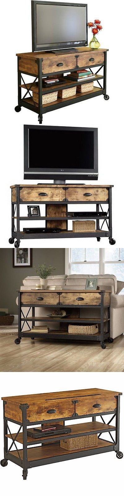 Entertainment Units TV Stands: Tv Stand Table Rustic Console Living Room Pine Industrial Media Cabinet Country BUY IT NOW ONLY: $196.95