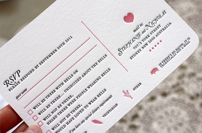 LOVE the heart detail on these wedding invitations by design house Bespoke Press.  such a lovely shade of pink!
