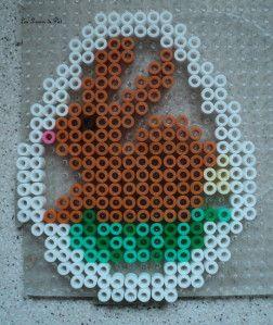 Easter bunny ornament hama perler by Les loisirs de Pat