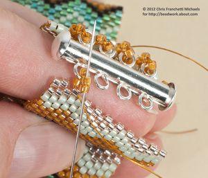 How to Attach a Slide Clasp to a Peyote Bracelet