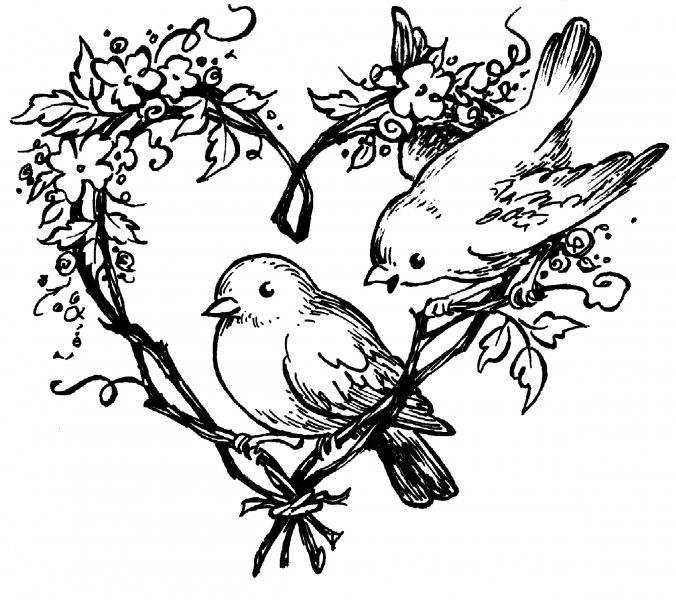 Tampon coeurs & oiseaux