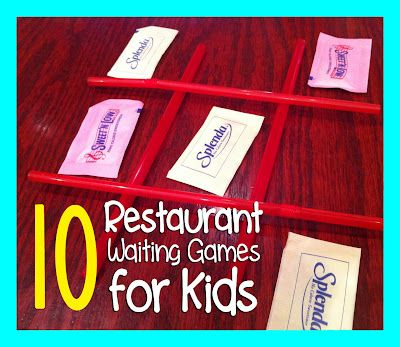 """waiting games"" to play in a restaurant with your kidsIdeas, Plays With Kids, For Kids, Kids Stuff, Wait Games, 10 Restaurants, Repeat Crafter, Restaurants Games, Restaurants Wait"