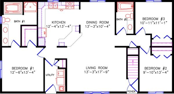 simple one story open floor plan rectangular - Google Search