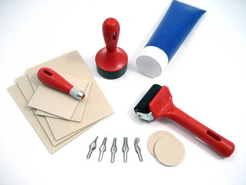 LINO BLOCK PRINTING CRAFT EQUIPMENT CUTTERS ROLLERS GUARDS INK TRAYS TOOLS