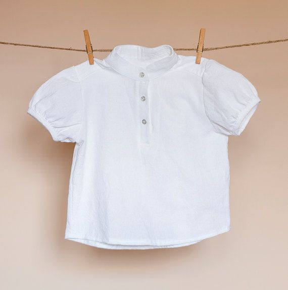 Girls Shirt natural linen-cotton button front by TheElfShopDesigns