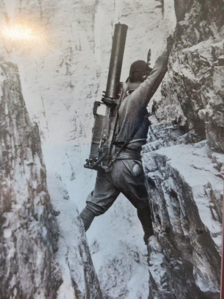 WWI; Italian Alpini climbing with a machine gun in the Dolomites. -BeyondMilitaryHist. (@Beyond_Mil_His) | Twitter