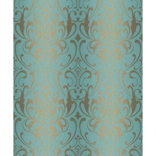 Glam Teal And Metallic Gold Damask Wallpaper York Wallcoverings Wallpaper Wall Decor