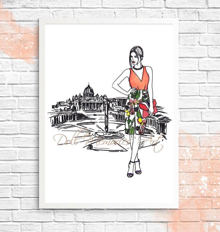 Italy art Italy illustration Italian girl Italy by DollMemoriesArt