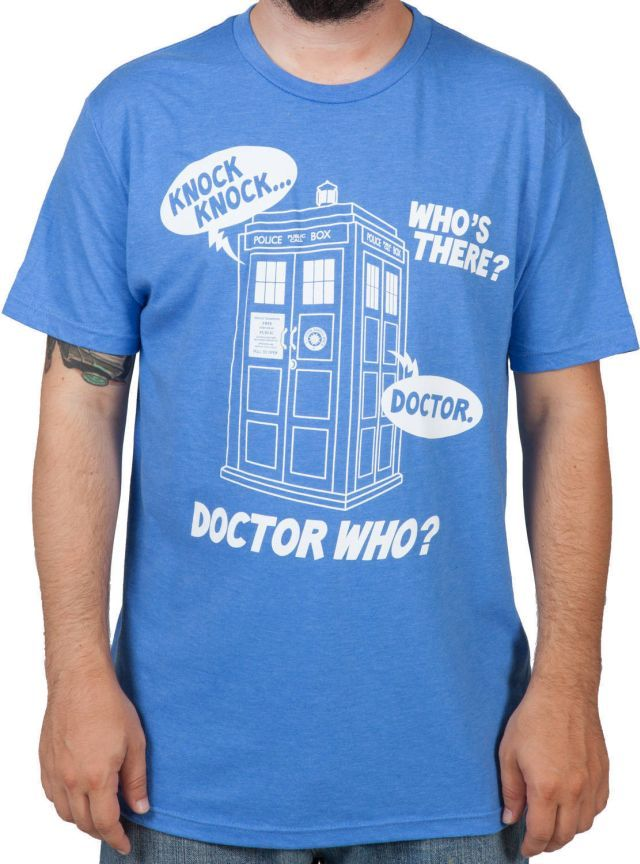 This Doctor Who shirt illustrates a knock-knock joke that takes place at the door of the good Doctor's TARDIS.