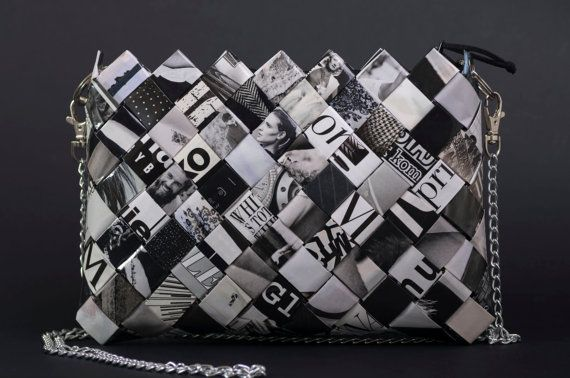 Unique Hand Made Black and White Bag Eco Friendly by Nadallina