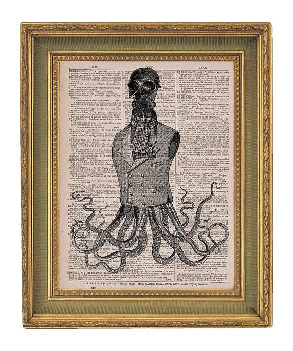 Vintage Dictionary Book Print  Upcycled - 8x10 - Steampunk Octopus Gentleman