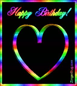 Happy Birthday 3d Heart Rainbow Glitter Graphic, Greeting, Comment, Meme or GIF