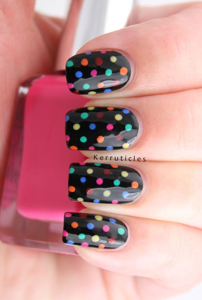 Multi-coloured Polka Dots over Black | Kerruticles
