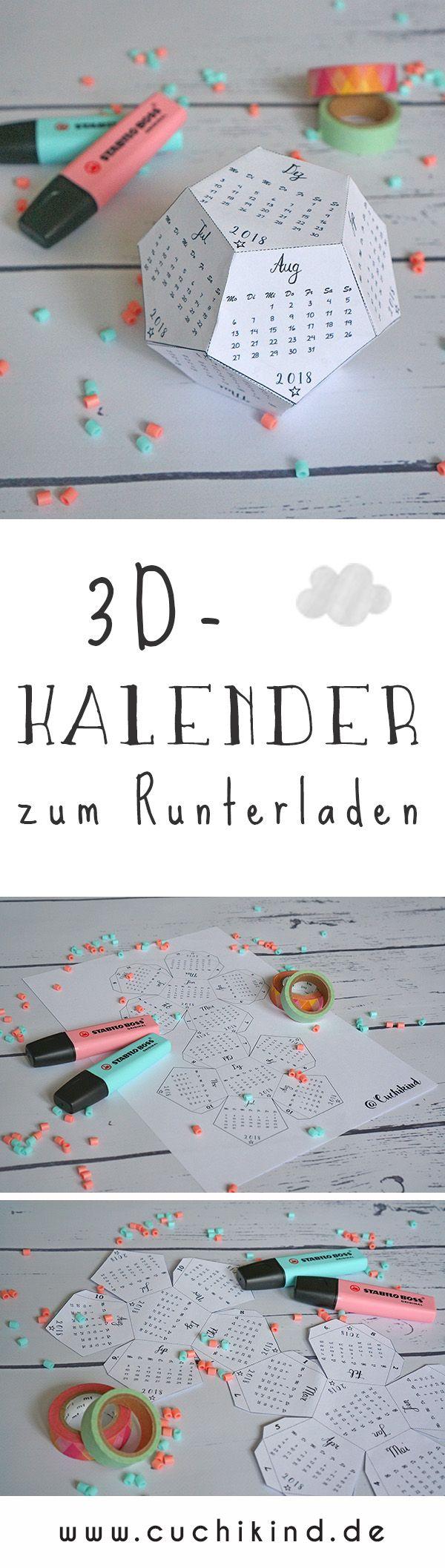 3D-Kalender 2018 (Free Printable
