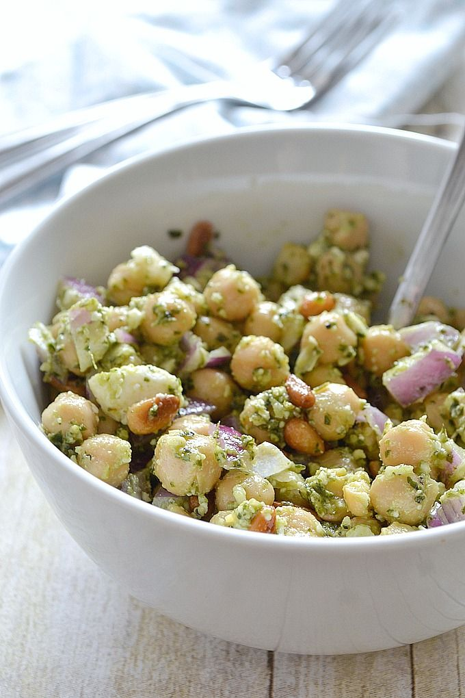 Chickpea Pesto Salad - Light salad, perfect side dish for a summer picnic or barbecue. (Try making a pesto vinaigrette to dress the salad instead of just straight up pesto)
