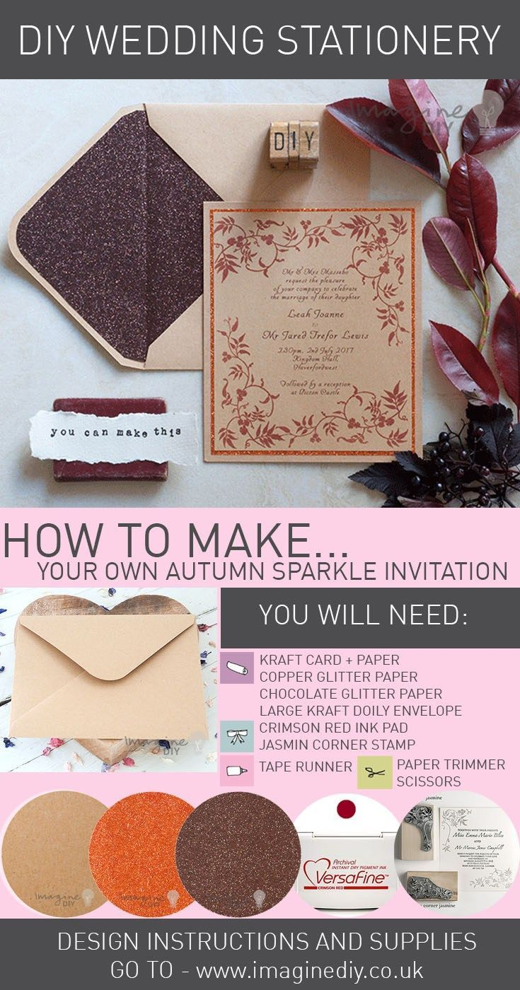 make autumn sparkle wedding invitations diy. Instructions to make your own DIY wedding invitations.