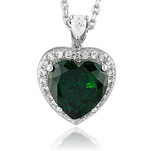 Heart of Ocean Large Halo Heart Necklace Pendant Birth Month Colors - May Simulated Emerald on Storenvy