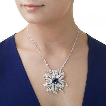 Designed by Maureen O'Hara, MOH304 Clear/Blue Pendant - from Newbridge Silverware online store Ireland