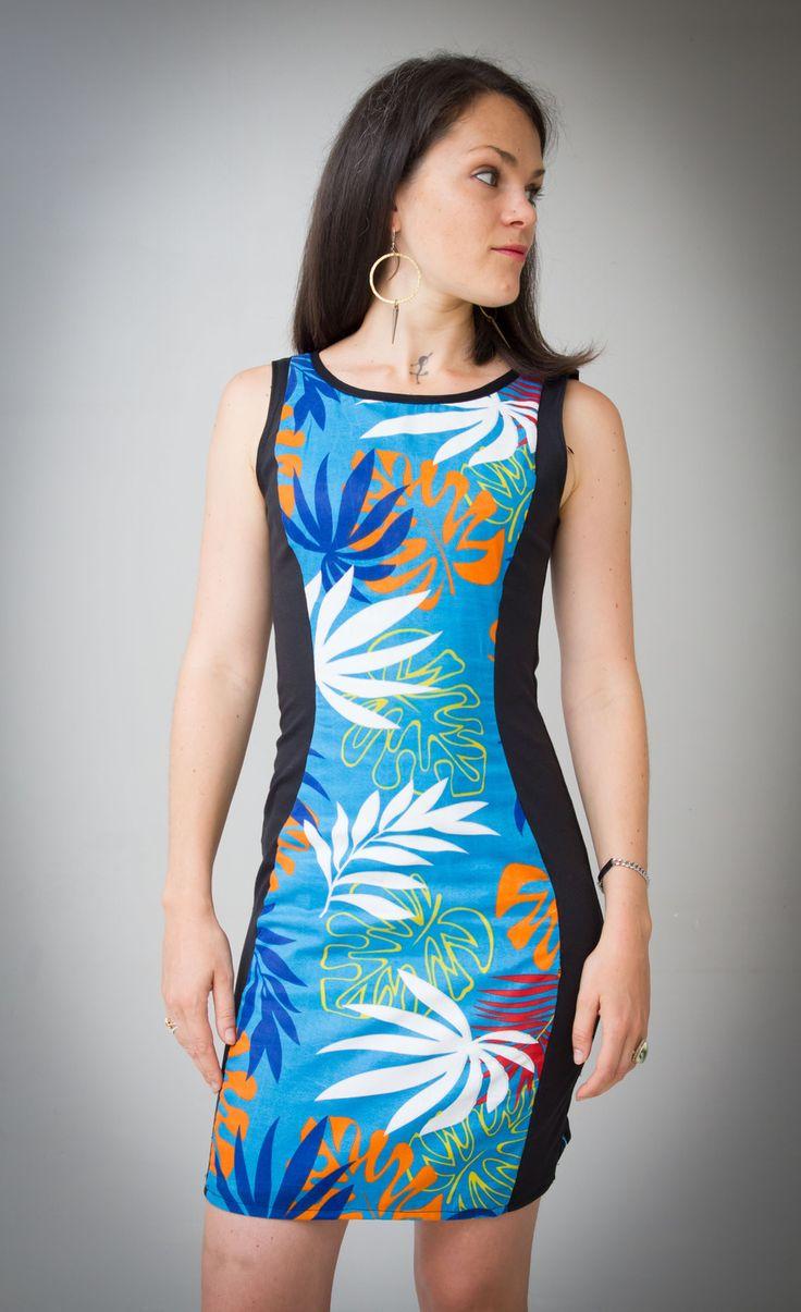 Robe moulante pour femme noire et bleue imprimés polynésiens : Robe par all-by-k