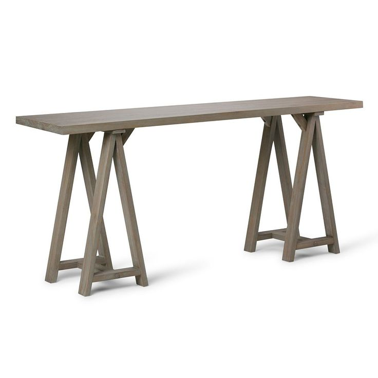 Simpli Home Sawhorse Large Console Table, Grey