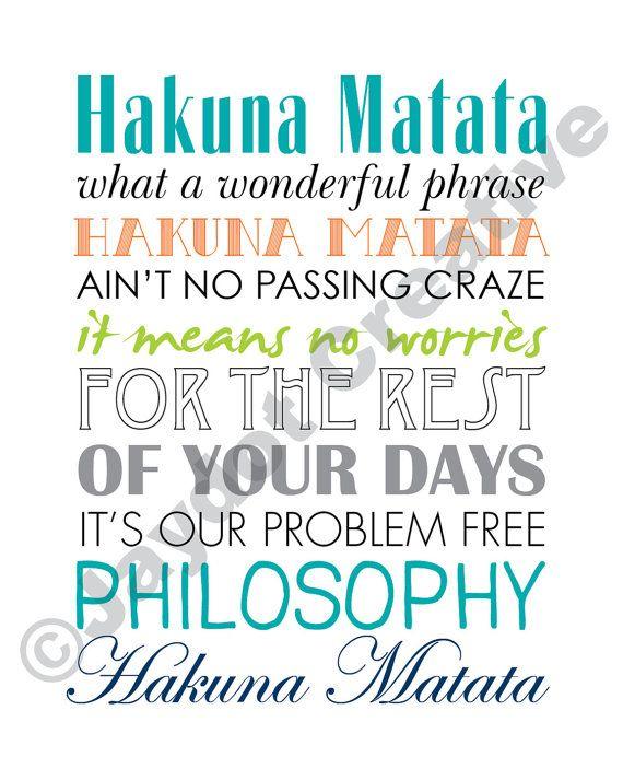LION KING Hakuna Matata PRINTABLE Lyrics Artwork by JaydotCreative