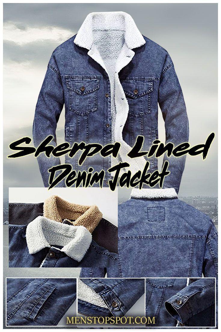1377bc9371 Lavnis Men s Casual Denim Jacket Winter Slim Fit Button Down Jeans Coat.  Sherpa lined denim jacket