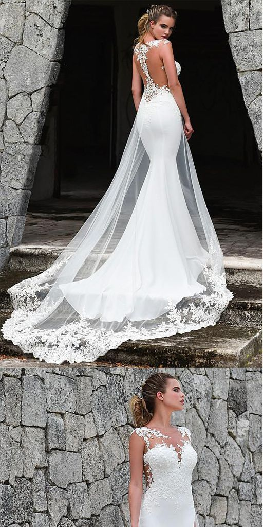 Modern White Tulle Mermaid Wedding ceremony Gown With Lace Appliques & Removable T…