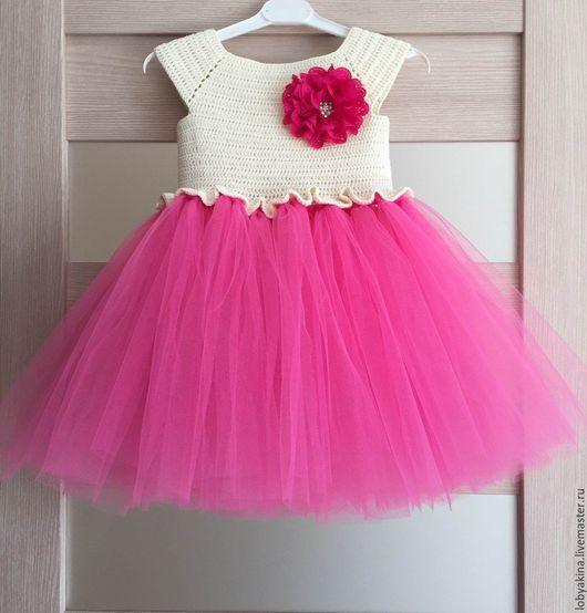 Одежда для девочек, ручной работы. Ярмарка Мастеров - ручная работа. Купить Платье детское, вязаное крючком, с фатином, нарядное. Handmade.