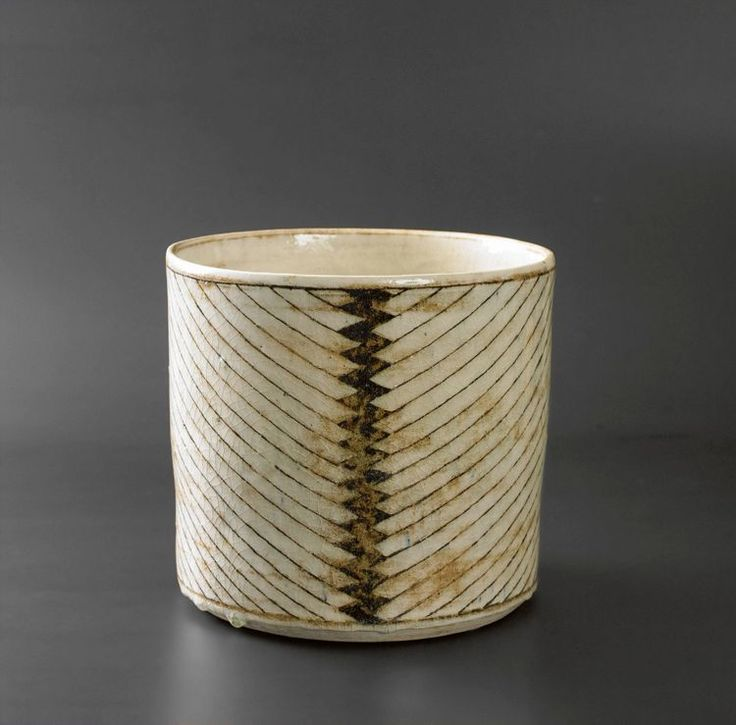 black and white hatched cup by Danish ceramicist Gertrud Vasegaard