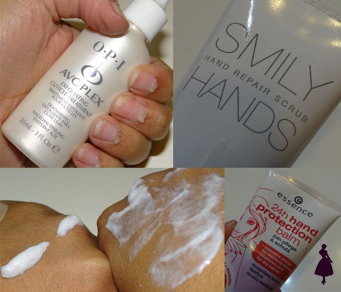 Siguientes pasos del cuidado de manos: exfoliante de cutículas y de manos. Luego crema hidratante.