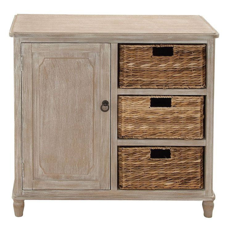 Wooden Brown 32-inch 3-basket Storage Cabinet - Overstock Shopping - Great Deals on Decorative Organizers
