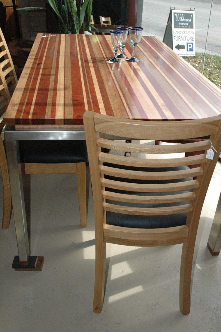 Wildwood Designs Mixed Hardwood Table On Stainless Steel Base