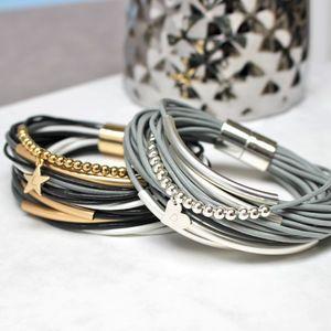 Jamie London Personalised Multi Strand Leather Bracelet