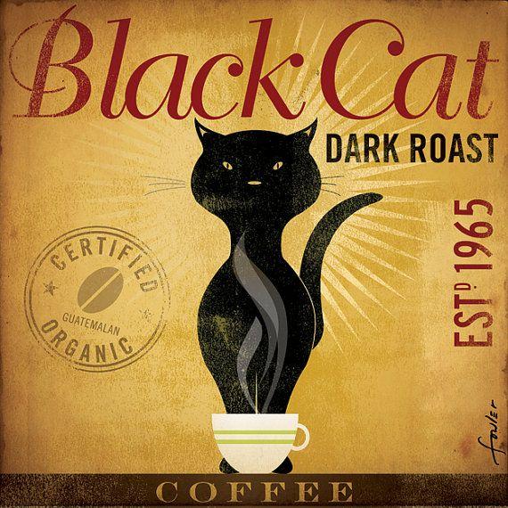 Black Cat Dark Roast Coffee original illustration di geministudio
