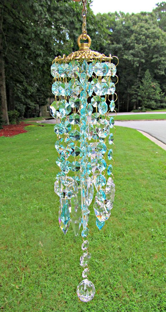 Aqua And Clear Crystal Wind Chime Garden Decor Gift For Her Glass Yard Art Mwc 144 Crystal Wind Chimes Wind Chimes Diy Wind Chimes