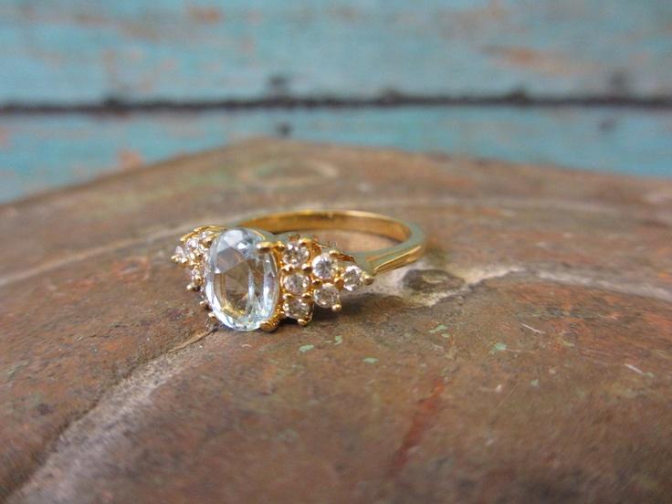 Vintage Gold Costume Jewelry Ring with Aquamarine Stone and Diamonds