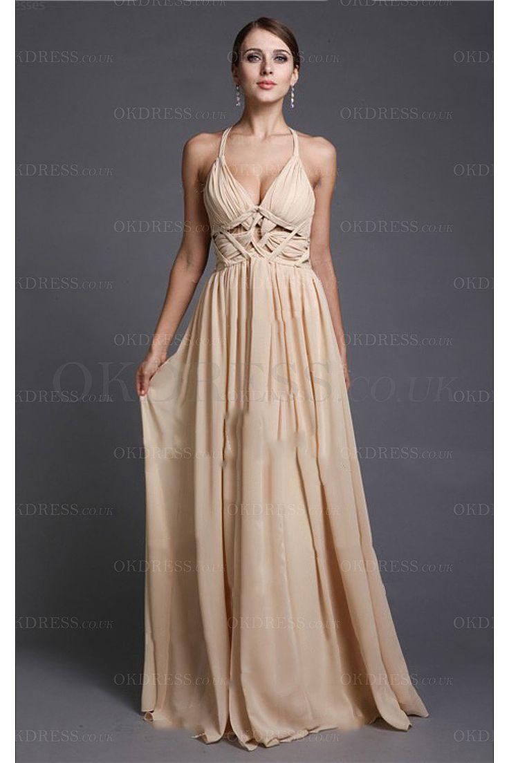V-neck Sleeveless Natural Long Formal Dresses - by OKDress UK