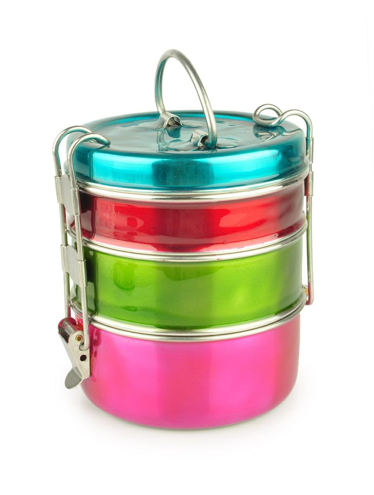 Enamelled Tiffin - Lunch Box, stainless steel from Tiffinware.com