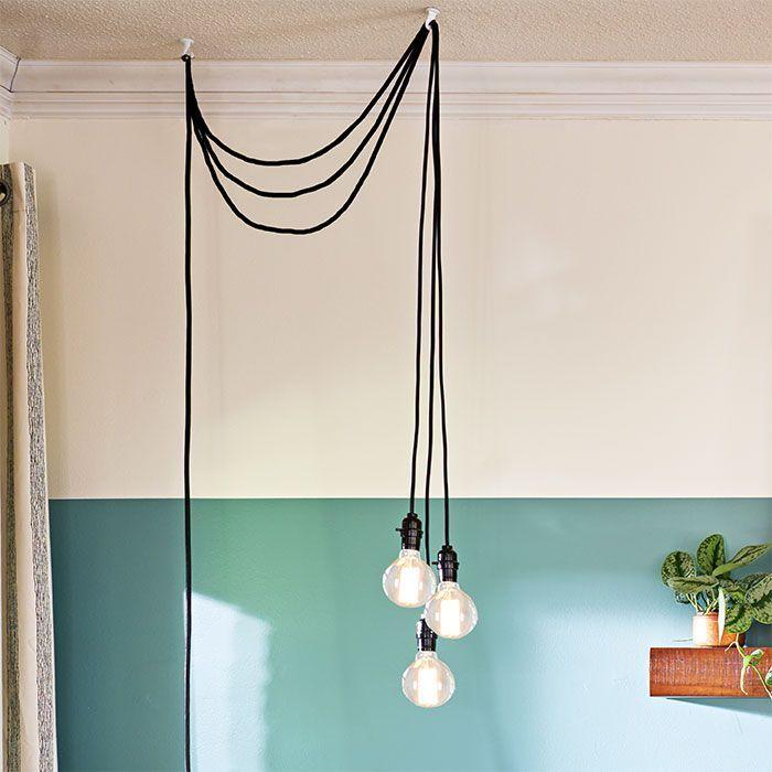 Vintage Hanging Light Triple Lamp Sockets Pendant E27 ES Base Individual Switch