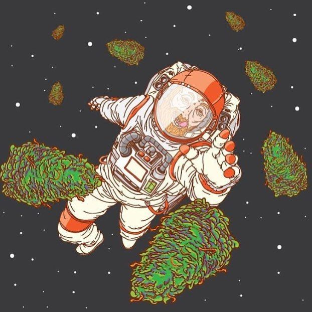 Trippy Weed Art - Stoned Astronaut #420