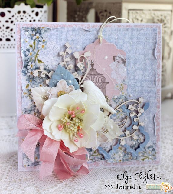 Beautiful layered card with foamiran flower made from Alice's dream collection.