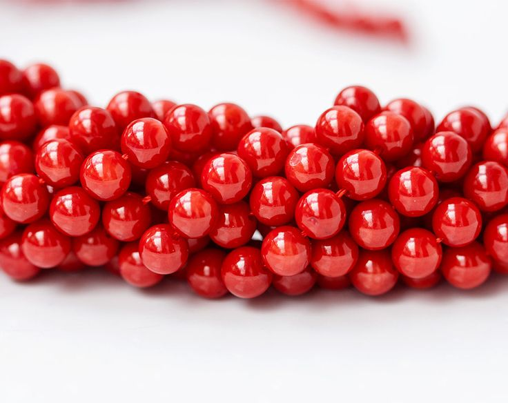 2657_Red coral 6 mm, Round beads, Red beads, Natural coral beads, Natural coral, Coral gemstones, Round beads, Round coral, Red stone beads. by PurrrMurrr on Etsy
